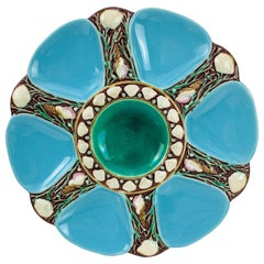 Minton Majolica Turquoise Six Well Oyster Plate, English, Dated 1871