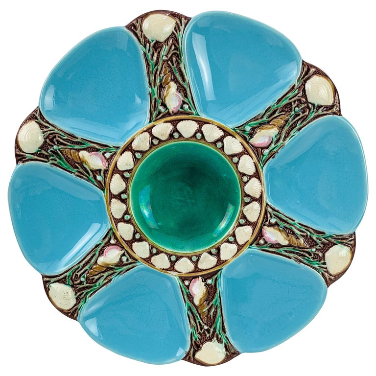 Minton Majolica Turquoise Six Well Oyster Plate, English, Dated 1871 For Sale