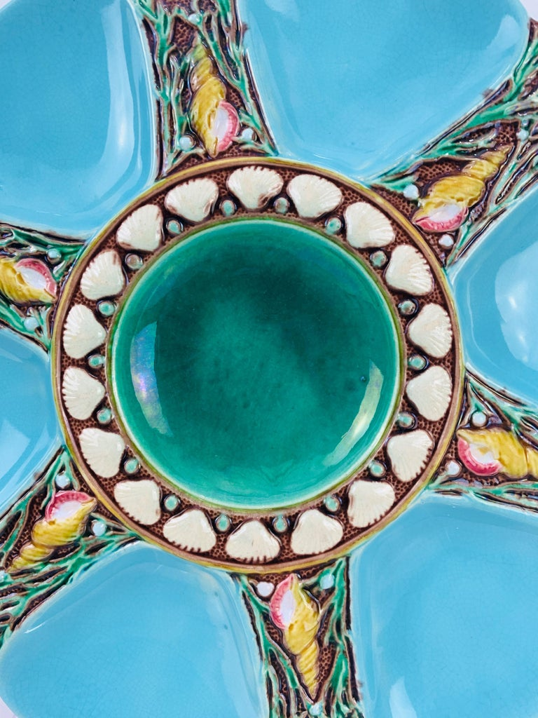 Minton Majolica Turquoise Six Well Oyster Plate, English, Dated 1873 In Good Condition For Sale In Banner Elk, NC