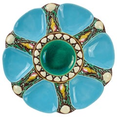 Minton Majolica Turquoise Six Well Oyster Plate, English, Dated 1873