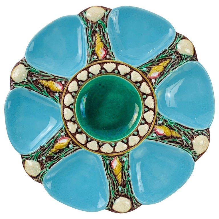 Minton Majolica Turquoise Six Well Oyster Plate, English, Dated 1873 For Sale