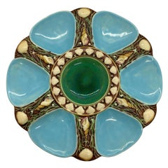 Minton Majolica Turquoise Six Well Oyster Plate, English, Dated 1874