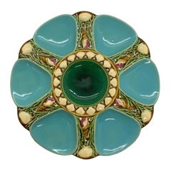 Minton Majolica Turquoise Six Well Oyster Plate, English, Dated 1895