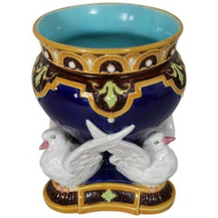 Minton Majolica Vase Which Features Three Doves