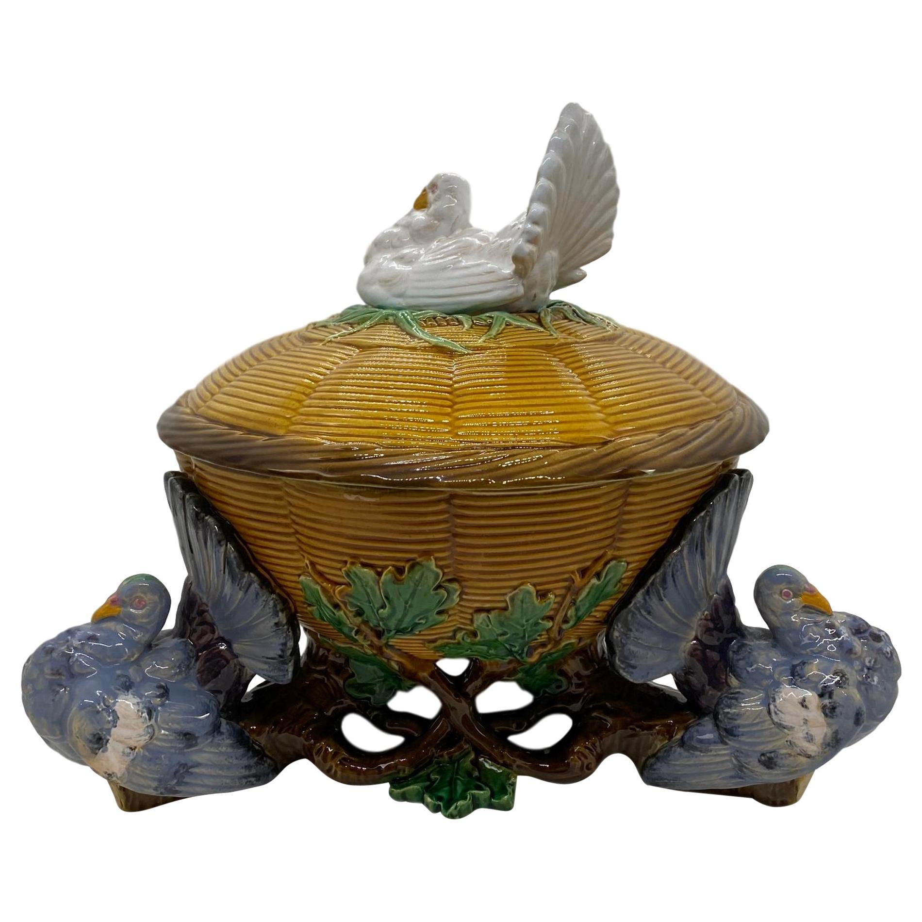 Minton Majolica White Fantail Pigeon Tureen Yellow Wicker and Oak Tree Base