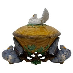Minton Majolica White Fantail Pigeon Tureen Yellow Wicker and Oak Tree Base