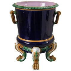 Minton Majolica Wine Cooler with Lion Paw Feet