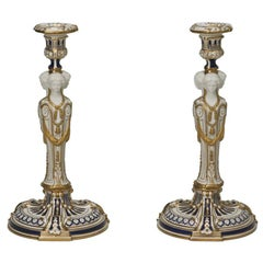 Minton Neoclassical Figural Candlesticks with Parian Faces