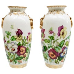 Minton Pair of Porcelain Vases, Pansies Painted by Jesse Smith, Victorian, 1853