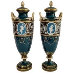 Minton Pair of Porcelain Vases - Urns, Pâte-sur-Pâte by Harry Hollins, 1873-1891