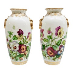 Minton Pair of Vases, Pansies Painted by Jesse Smith, 1853