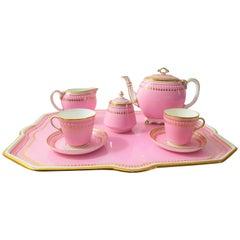 English 19th Century Minton Pink Jewelled Cabaret Set for 2