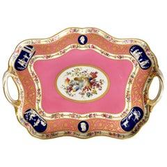 Minton Porcelain Cabaret Tray, Rose Du Barry Pink Sèvres Style, Victorian, 1876