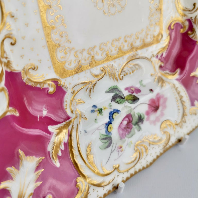 Minton Porcelain Cake Plate, Maroon with Flowers, Rococo Revival, ca 1830 For Sale 5