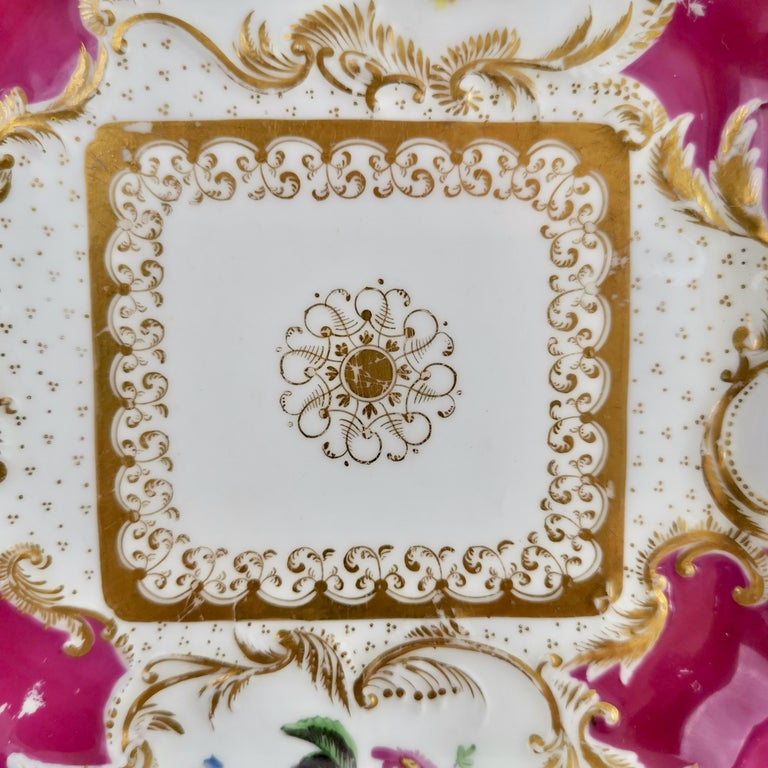 English Minton Porcelain Cake Plate, Maroon with Flowers, Rococo Revival, ca 1830 For Sale