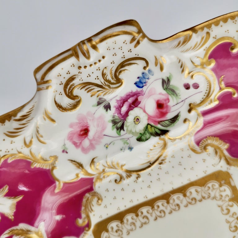 Minton Porcelain Cake Plate, Maroon with Flowers, Rococo Revival, ca 1830 For Sale 1