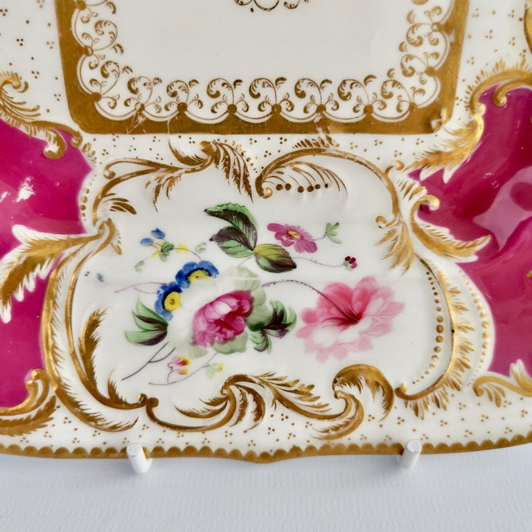 Minton Porcelain Cake Plate, Maroon with Flowers, Rococo Revival, ca 1830 For Sale 2