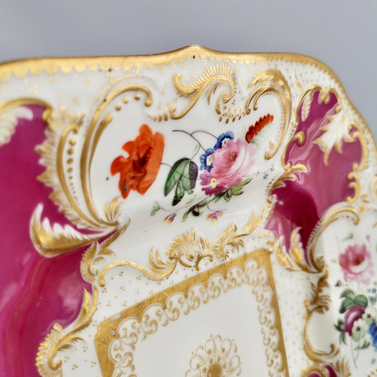 Minton Porcelain Cake Plate, Maroon with Flowers, Rococo Revival, ca 1830 For Sale 4