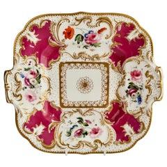 Minton Porcelain Cake Plate, Maroon with Flowers, Rococo Revival, ca 1830