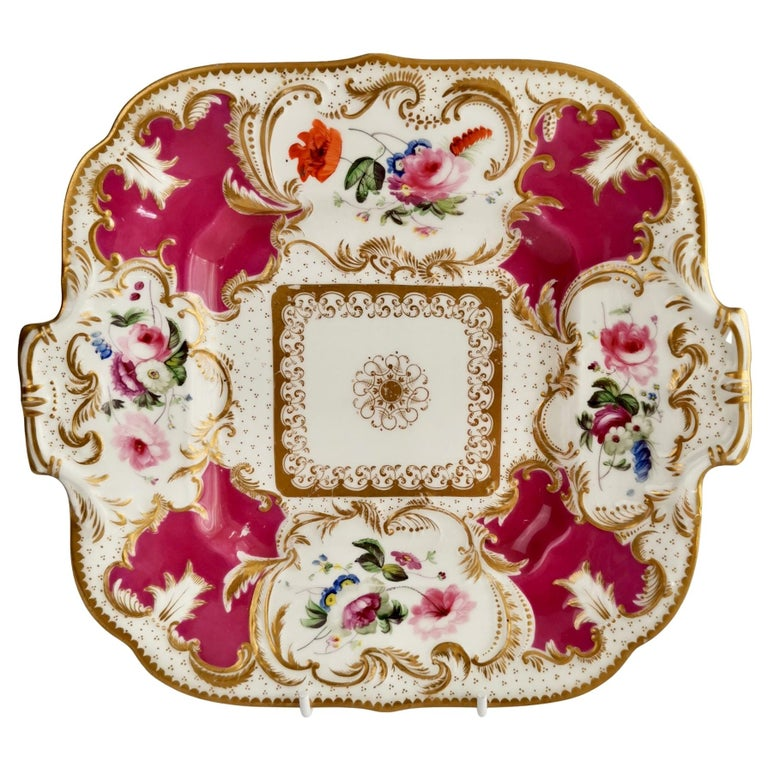 Minton Porcelain Cake Plate, Maroon with Flowers, Rococo Revival, ca 1830 For Sale