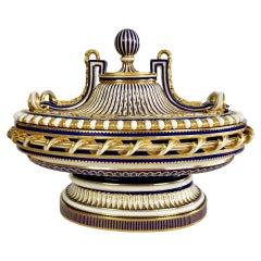 Minton Porcelain Centre Piece, Mazarine Blue with Gilt, Sèvres Style, 1862-1870