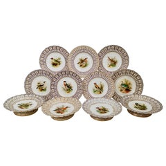 Minton Porcelain Dessert Service, Named Birds by Joseph Smith, Victorian 1851