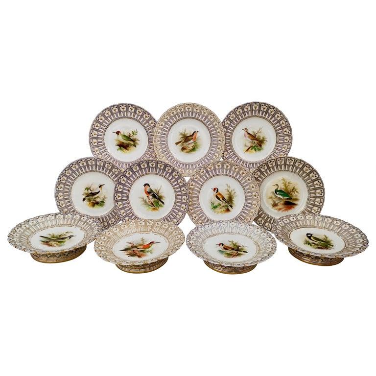 Minton Porcelain Dessert Service, Named Birds by Joseph Smith, Victorian 1851 For Sale