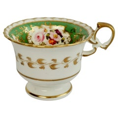 Minton Porcelain Orphaned Coffee Cup, Green with Flowers, ca 1825