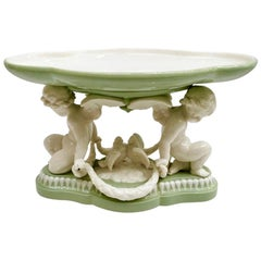 Minton Porcelain Tazza, Parian Celadon Green, Cherubs and Doves, Victorian, 1855