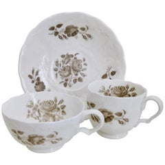 Minton Porcelain Teacup Trio, Bath Embossed White with Sepia Roses, Regency 1830