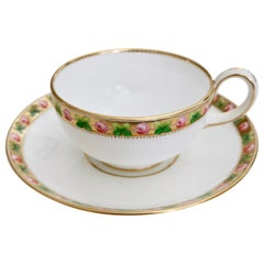 Minton Porcelain Teacup, White Paris Fluted with Roses and Gilt, 1862