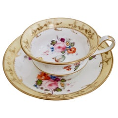 Minton Porcelain Teacup, Yellow with Hand Painted Flowers, Regency, circa 1825