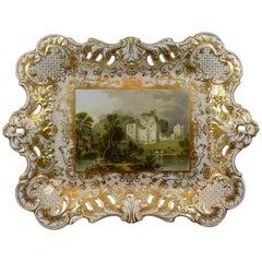 Minton Porcelain Tray, Brougham Castle, circa 1830