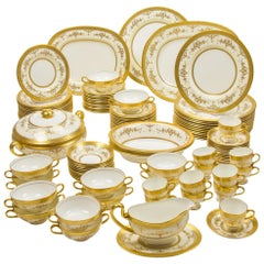 Minton 'Riverton' Raised Gilt Dinner Service 105 Pieces for 12 people circa 1950