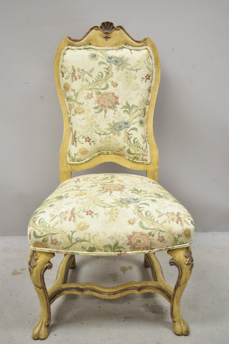 Minton Spidell Italian Regency Rococo style cream painted dining chairs - Set of 4. Item features (4) Side chairs, cream distress painted finish, solid wood frame, nicely carved details, original label, quality American craftsmanship, great style