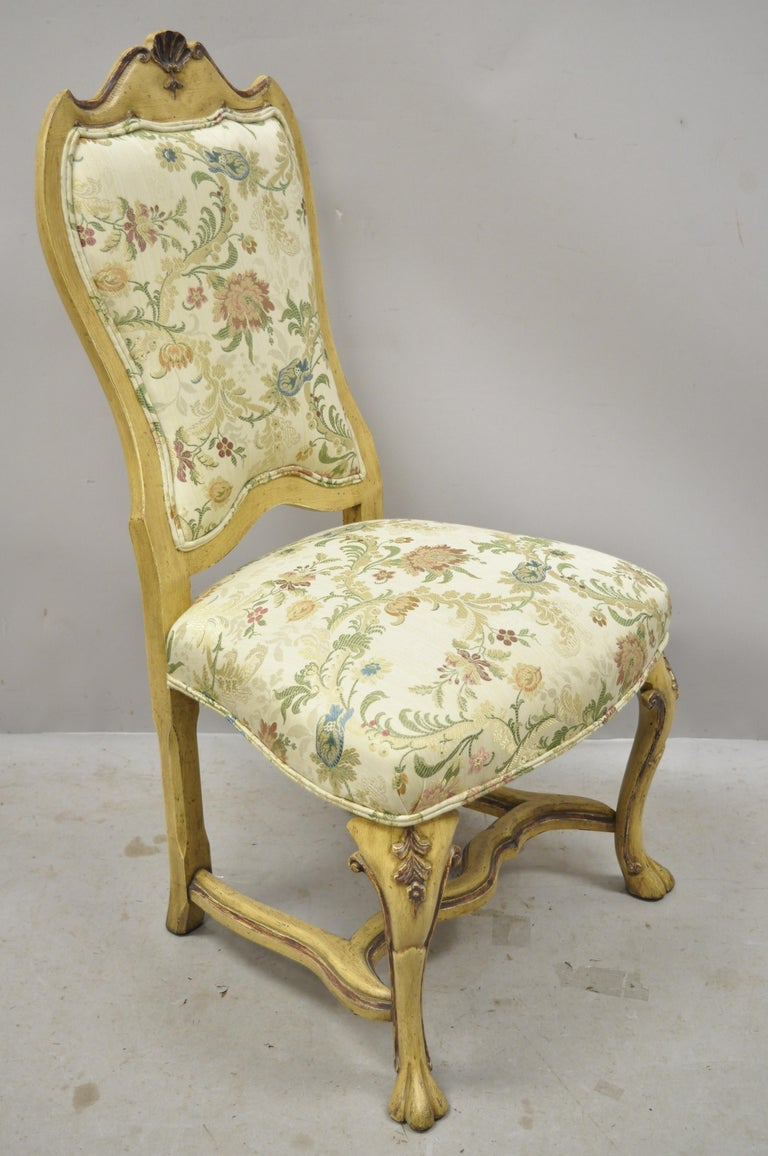 North American Minton Spidell Italian Regency Rococo Cream Painted Dining Chairs, Set of 4 For Sale