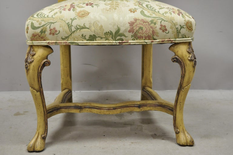 Fabric Minton Spidell Italian Regency Rococo Cream Painted Dining Chairs, Set of 4 For Sale