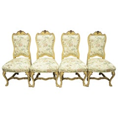 Minton Spidell Italian Regency Rococo Cream Painted Dining Chairs, Set of 4