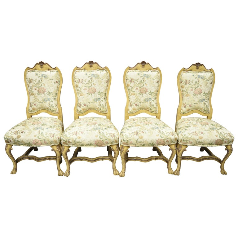Minton Spidell Italian Regency Rococo Cream Painted Dining Chairs, Set of 4 For Sale