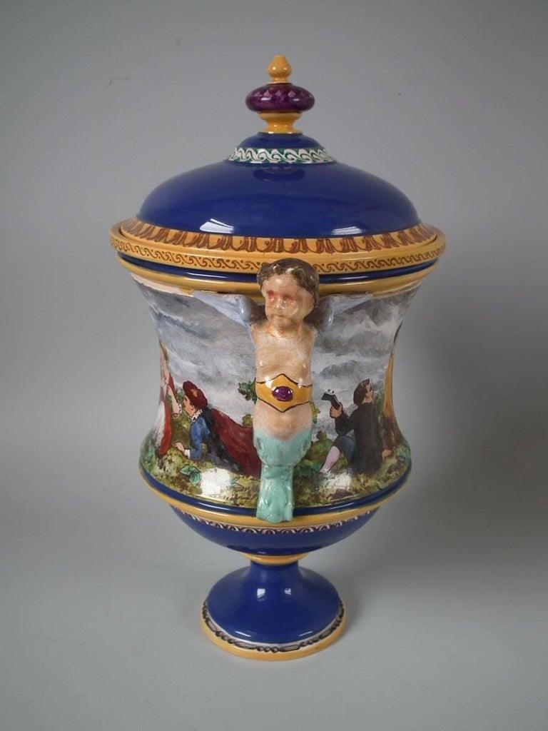 Minton Tin-Glazed Majolica Pictorial Lidded Vase For Sale 4