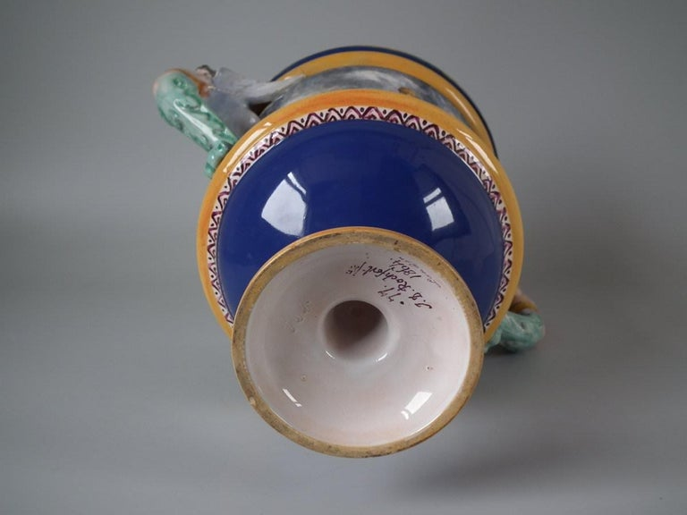 Victorian Minton Tin-Glazed Majolica Pictorial Lidded Vase For Sale