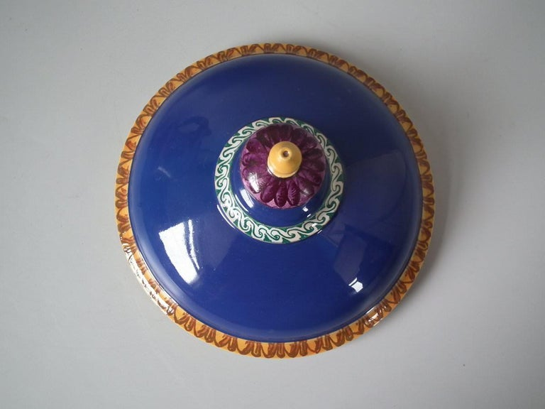 Minton Tin-Glazed Majolica Pictorial Lidded Vase For Sale 1