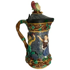 Minton Towered Jug w/ Pewter Lid & Medieval Dancers, English, date code 1876.