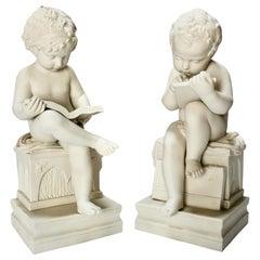 Minton White Parian Porcelain Sculpture Group, Cherubs with Books
