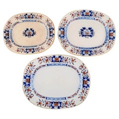Mintons, England, Three Antique Dishes in Hand-Painted Faience, Chinese Style