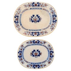 Mintons, England, Two Antique Dishes in Hand-Painted Faience, Chinese Style