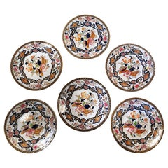 """Mintons Six English Porcelain Saucers with """"Chinoserie"""" Design"""