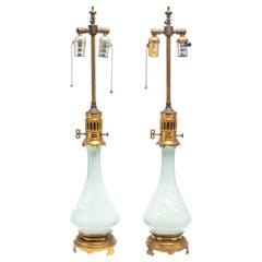 Mintons Style Glazed Ceramic Lamps