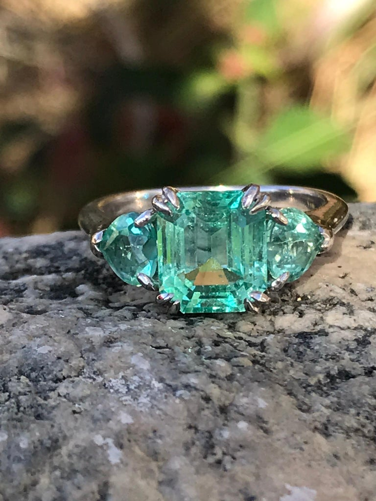 Modern Minty Emerald Three-Stone Ring