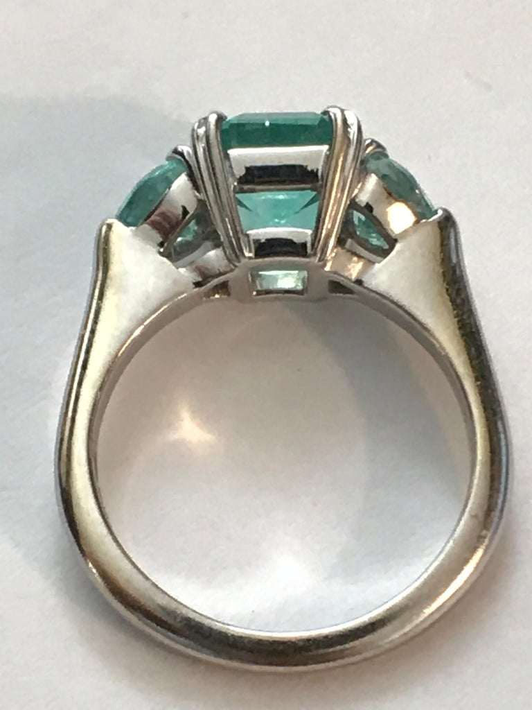 Emerald Cut Minty Emerald Three-Stone Ring